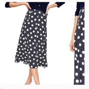 BODEN Floaty Polka Dot Midi Skirt navy white new